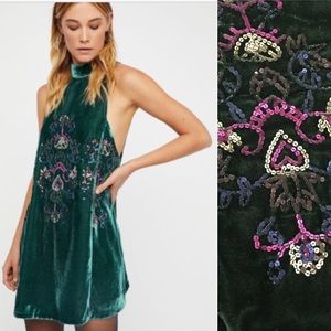 NEW! Free People Velvet Sequined Swing Dress S